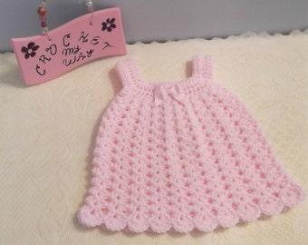 Crochet Baby Dress - pink rose - preemie or small newborn - ready to ship