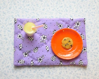 18 inch doll purple lady bugs hand quilted set of place mats