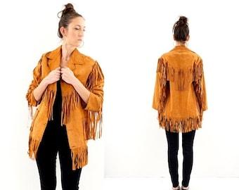 FLASH SALE vintage 70s SUPER soft Suede long Fringe jacket S-M