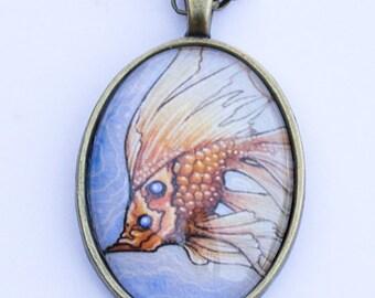 """Art print pendant necklace """"Goldfish"""" creature art pendant vintage style"""