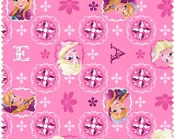 Pink Frozen Glitter Sisters Toss 100% Cotton fabric