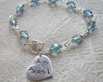 Mom Wishes Crystal Link Bracelet - Dandelion Wishes - Swarovski Crystals - Mother's Day Gift