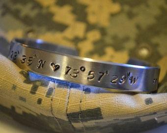 "Military Academy - Latitude Longitude Coordinates Aluminum 3/8"" Cuff - Hand Stamped"