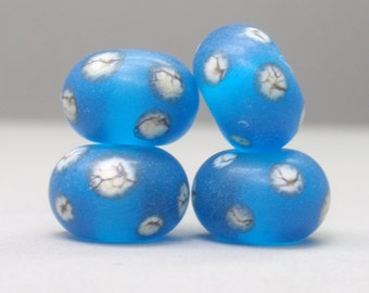 aqua dark with silvered ivory dots - 4 handmade lampwork beads