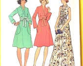 Uncut 1970s Simplicity 7220 Misses' Dress  Back Zipper Maxi and Midi Length Faux Wrap Front Women's Vintage Sewing Pattern Bust 36