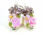 Pastel Floral Earrings & Crystal Cluster Earrings, Pink Rose Romantic Jewelry, Pink Purple Glass Earrings, Lampwork Earrings, Cottage Chic