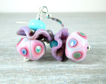 Pink Blue Purple Pink Ruffle Dangle Earrings, Pastel Spotted Glass Earrings, Whimsical Polka Dot Earrings, Lampwork Earrings, Funky Earrings