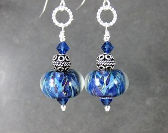 Cobalt Turquoise Blue Glass Earrings, Dangle Earrings, Sterling Silver Jewelry, Boro Lampwork Earrings, Boho Jewelry, Art Glass Earrings