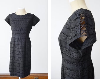 "Plus Size 1950s Black Eyelet Cocktail Dress - 50"" Bust 36"" Waist"