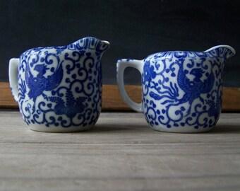 Vintage Blue and White Phoenix Transferware Creamers ~ Petite Pitchers