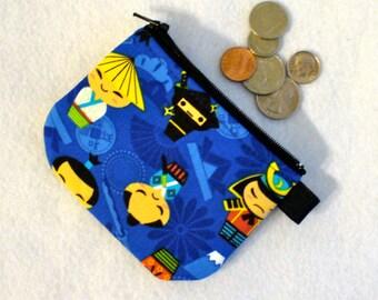Japanese Boy Kokeshi Dolls Kawaii Cute Mini Coin Purse Little Zipper Change Purse Fabric Coin Wallet Blue Ninja Warrior Samurai Sword MTO