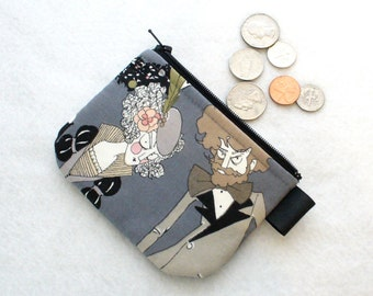 The Ghastlies Couple Fabric Mini Coin Purse Zipper Change Purse Fabric Coin Wallet Halloween Alexander Henry Ghastly Ghastlie Fabric