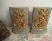 Pair of Vintage BORGHESE Bookends ~ Robins Egg Blue and Gold Gilt ~ NICE ~ Hollywood Regency ~ Paris apartment ~ Shabby Chic