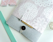 Laptop Sleeve 13 inch Laptop Case 13 Sleeve or MacBook Pro - Gray Linen and Lace