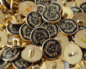 SEE SHOP ANNOUNCEMENT for 60% Off Coupon Code - 3/4in Gold w/Black Crown, Laurel & Fleur de Lis Epoxy Plastic Buttons - You Pick Qty 10 - 40