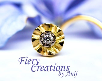 """Nose Screw / Tragus stud """"Jaipur Blossom"""" - 18k SOLID Yellow & White Gold with a 1.65mm Fine White Diamond, OOAK"""