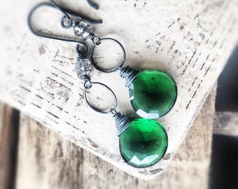 Emerald Quartz Earrings - Sterling Silver Earrings - Moss Amethyst Earrings - Dangle Earrings - Green Gemstone Earrings - Free Shipping