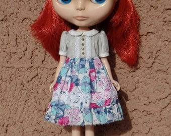 Babydoll dress for blythe - Mistic Gray/Poppies