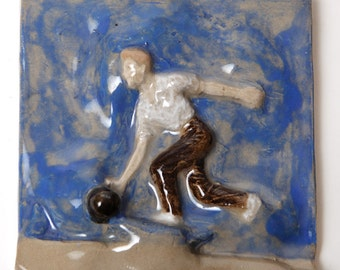 Handmade Stoneware Ceramic Bowler Tile 5x5 Inches- Strike On!
