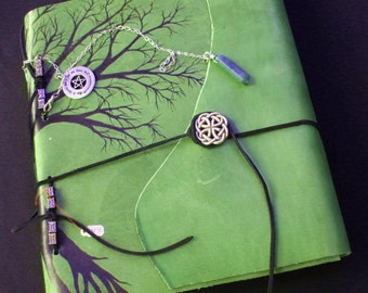 Hand Painted Handmade Leather Bound Tree Book of Shadows