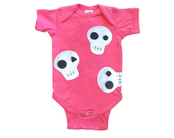 Skulls Can be Cute! - Hot Pink Infant Bodysuit – Boys or Girls [Raspberry]