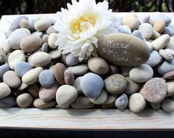 Wishing Stones , Guest Book Alternative , Message Rocks , Unique Wedding Reception , Smooth rocks