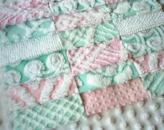 "Vintage Pink and Aqua Chenille Bedspread Squares 21-6""  Pretty!"