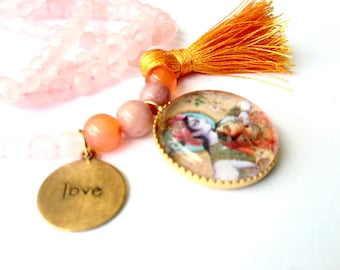 Radha Krishna Love Necklace with rose quartz, Yoga Necklace with tassel, Hindu Goddess Necklace