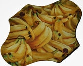 Liner Hemp Core- Bananas Reusable Cloth Mini Pad- WindPro Fleece- 7.5 Inches (19 cm)