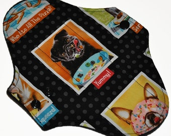 Light Hemp Core- Puppy Portraits Reusable Cloth Pantyliner Pad- WindPro Fleece- 8.5 Inches