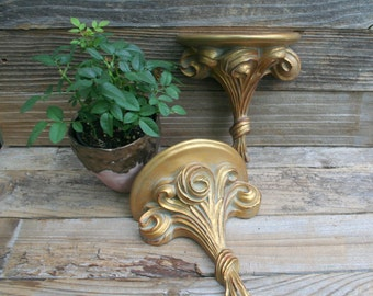 Pair of Gold Painted Wall Shelves