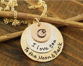 ON SALE Love you to the Moon and Back Tri Color Necklace, Rose Gold Necklace, Tri Color Necklace, Moon and Back Jewelry