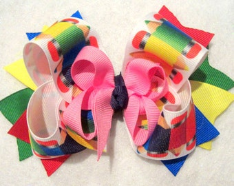 Boutique Hair Bow Back to School Fall Pencil Large Hairbow Layers of Loops Colorful 2 sizes Available for Baby Toddler to Little Girl