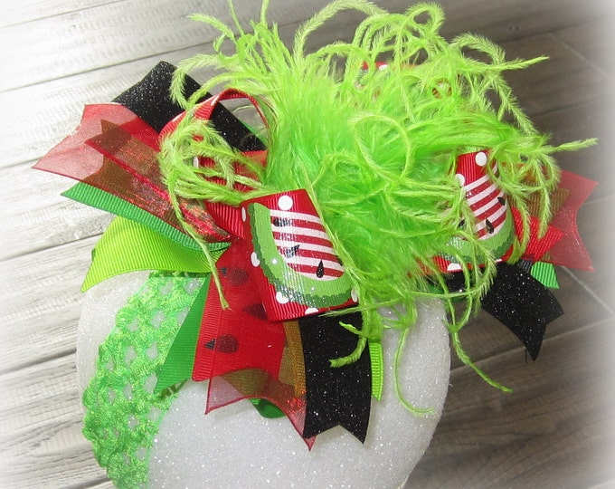 Watermelon Hair Bow, Over the Top Bow, Headbands for Babies, Big baby Headband, Large Feather Bow, Boutique Pageant Hairbow, Lime Red Bow