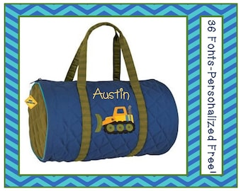 36 Fonts- Personalized Boy's CONSTRUCTION TRUCK Blue Quilted Bag by Stephen Joseph FREE Monogram