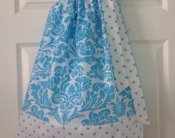 READY TO SHIP Blue Damask Pillowcase Dress Size 4