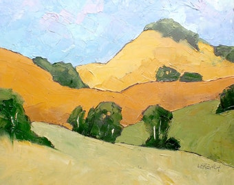 Impressionist Painting Plein Air California Landscape PASO ROBLES Summer Hills Lynne French 16x20