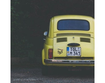 Car Photography Vintage Car Fiat 595 Yellow Car Print Travel Photography Wanderlust Germany Photography Yellow Fiat Square Print