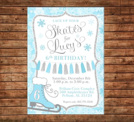 Girl Ice Skating Skate Glitter Tassel Snowflake Frozen Blue Silver Glitter Birthday Invitation - DIGITAL FILE