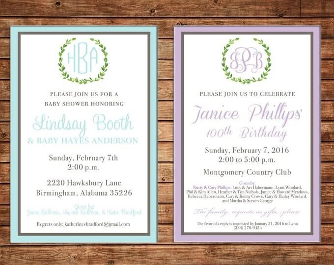 Birthday Christening Dedication Baby Shower Bridal Bride Wedding Laurel Monogram Invitation - DIGITAL FILE