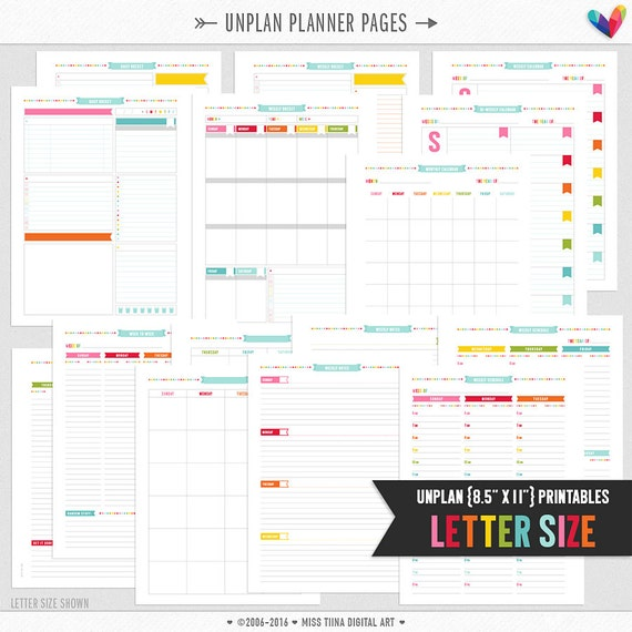 """L • UNplan Planner Page Printables PDF - 8.5"""" x 11"""" A4 Letter Size Page Inserts - daily docket, weekly docket, undated calendars"""