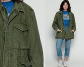 Military Jacket 80s Coat Army Commando Cargo Grunge DISTRESSED Oversized Olive Drab Green Cotton 1980s Vintage Camo Anorak Large