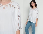 Cut Out Top White Blouse Boho 80s BALI Cutwork Embroidery Mesh Top 70s SHEER Embroidered 1980s Cutout Bohemian Shirt Festival Extra Large xl