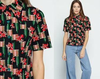 Black Floral Blouse 70s Boho Top Button Up Shirt Bohemian Short Sleeve 1970s Vintage Disco Hippie Collar Red Pink Green Small