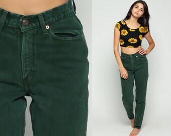 Levis Jeans Mom Jeans Green Denim High Waist Jeans Baggy 80s Tapered Straight Leg Levi Denim Pants Skinny 1980s Vintage Small Medium  27