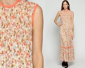 Hippie Boho Dress 70s Floral SMOCKED Long Maxi Empire Waist Flower Print 1970s Vintage Bohemian Sleeveless Tiered Orange Cream Medium