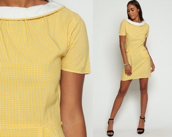 1960s Dress Gingham Dress Mini Sheath Mad Men 60s Short Sleeve Pin Up High Waisted Checkered Yellow Hourglass Collar Vintage Small