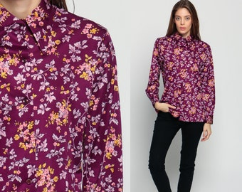 70s Button Up Shirt Floral Blouse Leaf Print Graphic Purple Secretary Boho 1970s Top Long Sleeve Shirt Vintage Retro Bohemian Small