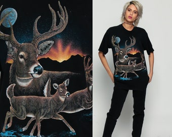 Deer Shirt 80s Animal TShirt MOON Wildlife Buck Vintage Retro Graphic Tee Wilderness Screen Print 1980s t shirt Black Large