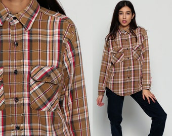 Plaid FLANNEL Shirt Button Up 70s Brown Red White Checkered Long Sleeve 1970s Lumberjack Vintage Grunge Hipster Women Men Medium